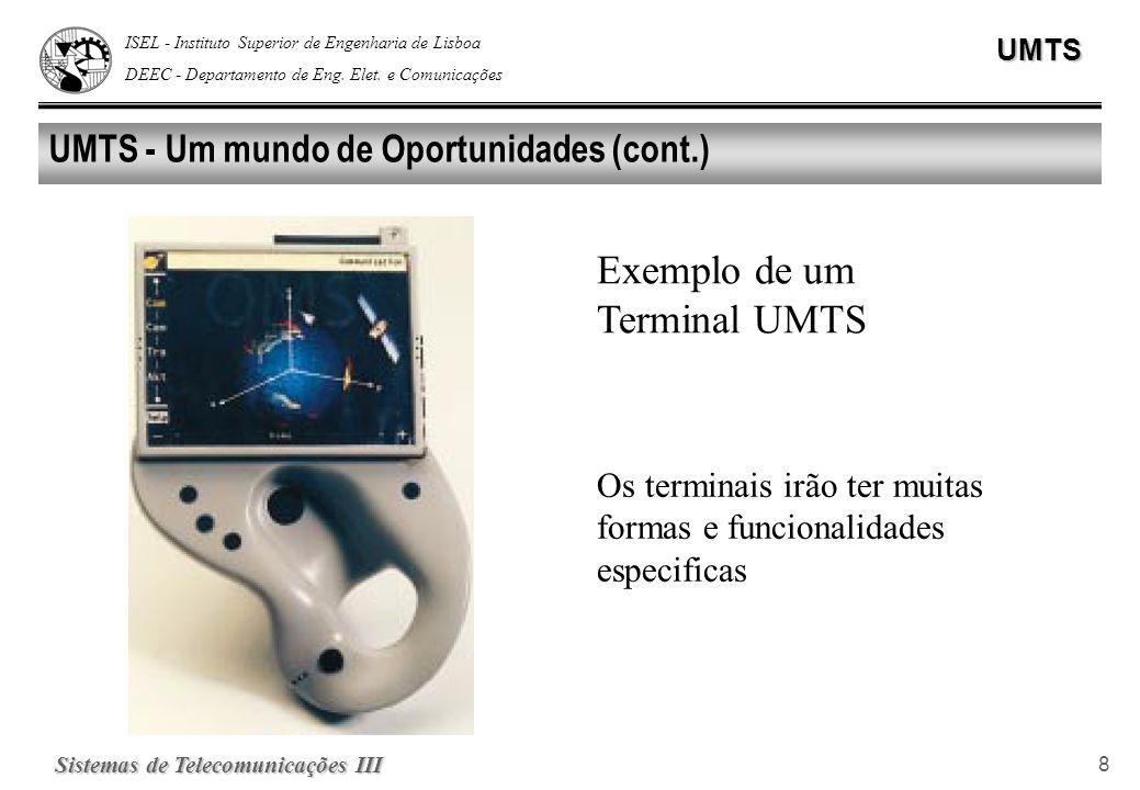 ISEL - Instituto Superior de Engenharia de Lisboa DEEC - Departamento de Eng. Elet. e ComunicaçõesUMTS Sistemas de Telecomunicações III 8 UMTS - Um mu
