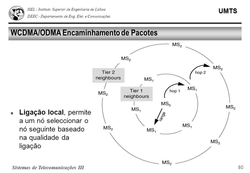 ISEL - Instituto Superior de Engenharia de Lisboa DEEC - Departamento de Eng. Elet. e ComunicaçõesUMTS Sistemas de Telecomunicações III 80 WCDMA/ODMA