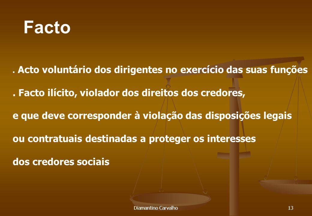 Facto Diamantino Carvalho13. Acto voluntário dos dirigentes no exercício das suas funções.