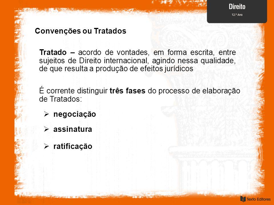 Convenções ou Tratados Tratado – acordo de vontades, em forma escrita, entre sujeitos de Direito internacional, agindo nessa qualidade, de que resulta
