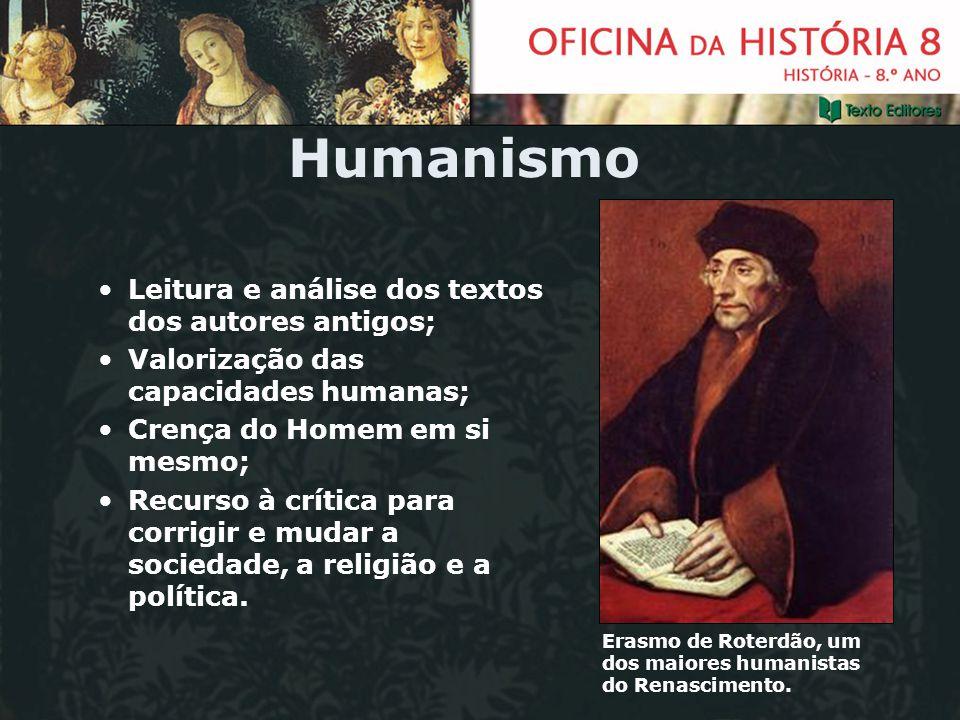 Humanismo Leitura e análise dos textos dos autores antigos; Valorização das capacidades humanas; Crença do Homem em si mesmo; Recurso à crítica para c