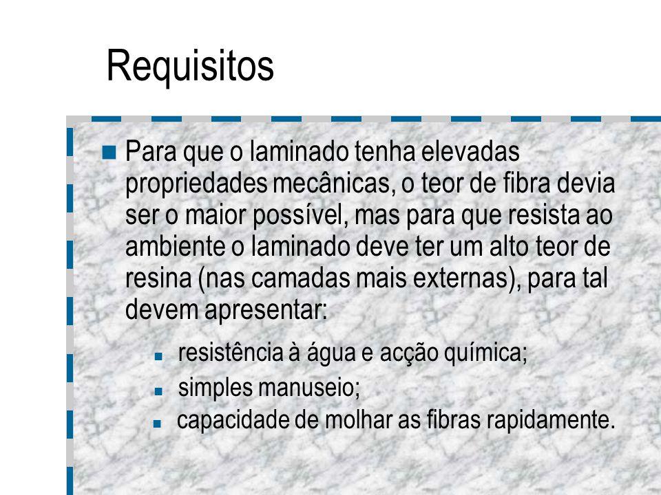 Requisitos Para que o laminado tenha elevadas propriedades mecânicas, o teor de fibra devia ser o maior possível, mas para que resista ao ambiente o l