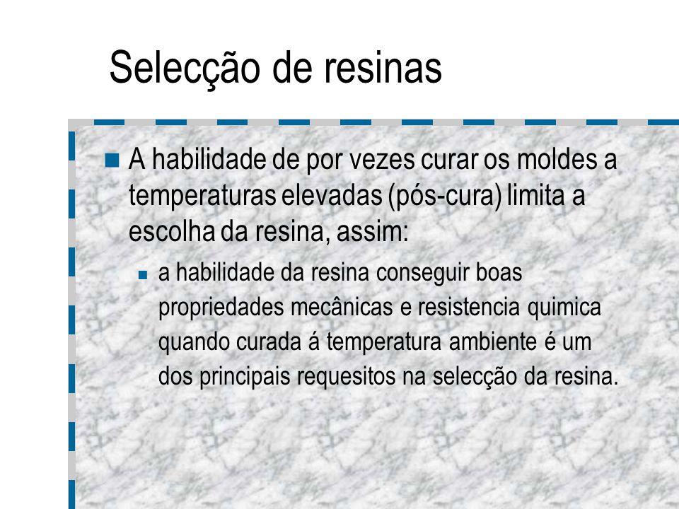 Selecção de resinas A habilidade de por vezes curar os moldes a temperaturas elevadas (pós-cura) limita a escolha da resina, assim: a habilidade da re