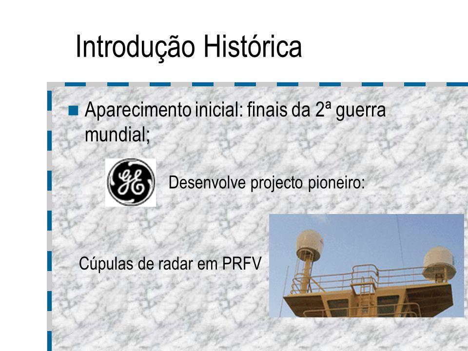 Introdução Histórica Aparecimento inicial: finais da 2ª guerra mundial; Desenvolve projecto pioneiro: Cúpulas de radar em PRFV