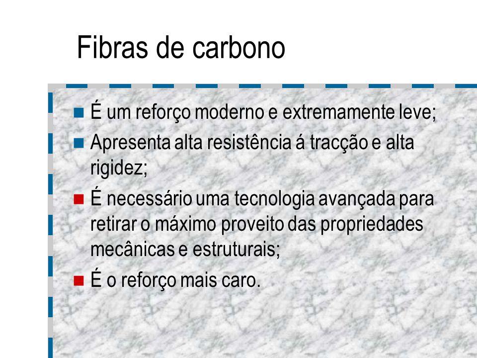 Fibras de carbono É um reforço moderno e extremamente leve; Apresenta alta resistência á tracção e alta rigidez; É necessário uma tecnologia avançada