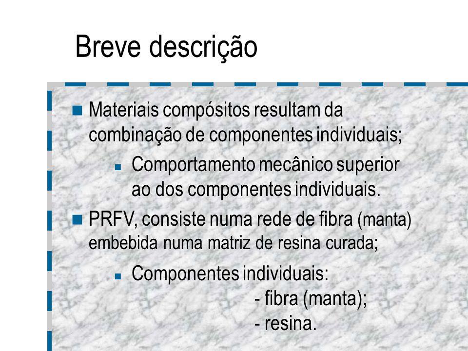 Breve descrição Materiais compósitos resultam da combinação de componentes individuais; Comportamento mecânico superior ao dos componentes individuais