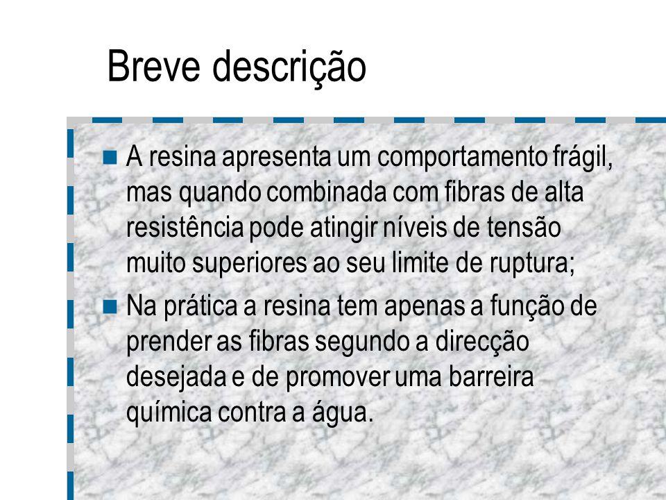 Breve descrição A resina apresenta um comportamento frágil, mas quando combinada com fibras de alta resistência pode atingir níveis de tensão muito su