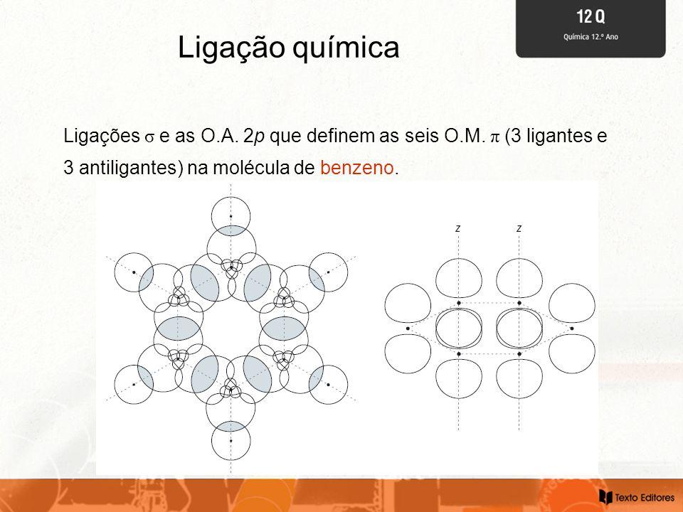 Ligação química Ligações σ e as O.A. 2p que definem as seis O.M. π (3 ligantes e 3 antiligantes) na molécula de benzeno.