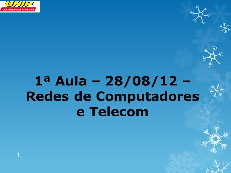 1ª Aula – 28/08/12 – Redes de Computadores e Telecom 1