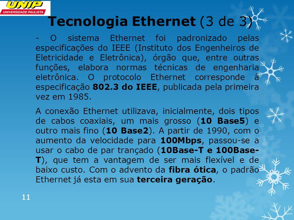 Tecnologia Ethernet (3 de 3) - O sistema Ethernet foi padronizado pelas especificações do IEEE (Instituto dos Engenheiros de Eletricidade e Eletrônica