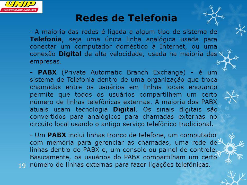 Redes de Telefonia - A maioria das redes é ligada a algum tipo de sistema de Telefonia, seja uma única linha analógica usada para conectar um computador doméstico à Internet, ou uma conexão Digital de alta velocidade, usada na maioria das empresas.