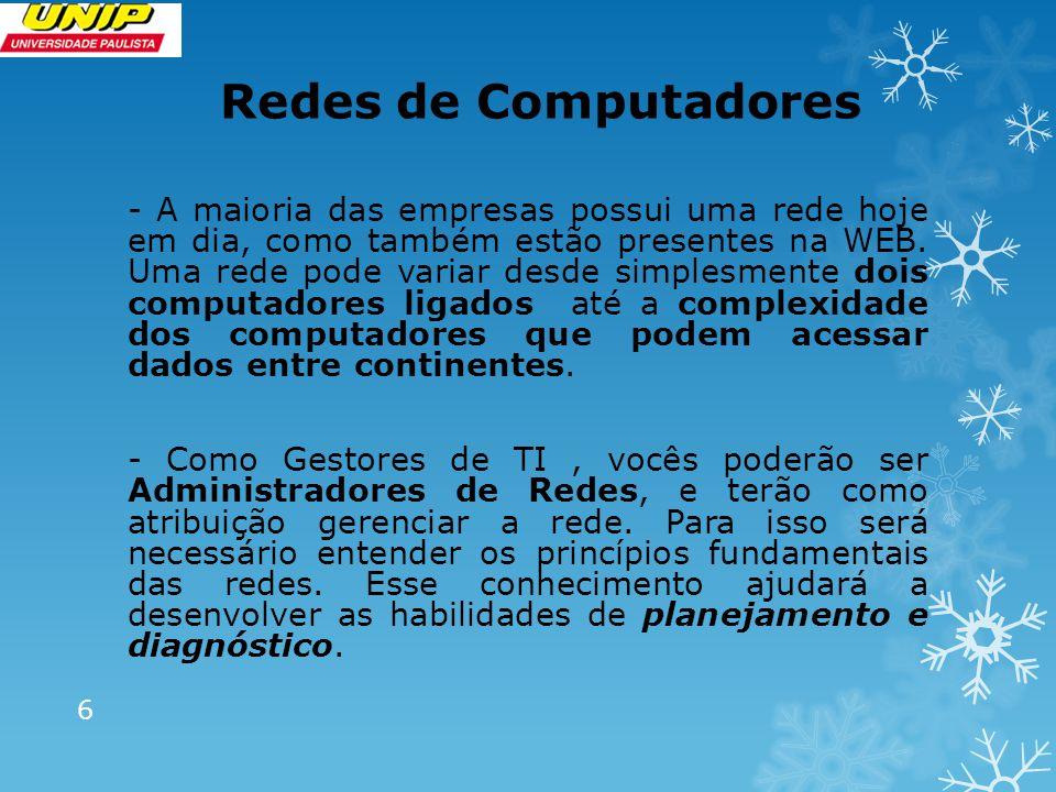 Redes de Computadores - A maioria das empresas possui uma rede hoje em dia, como também estão presentes na WEB.