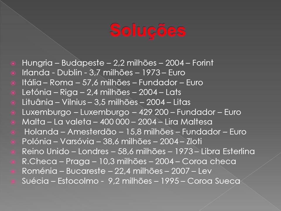  Hungria – Budapeste – 2,2 milhões – 2004 – Forint  Irlanda - Dublin - 3,7 milhões – 1973 – Euro  Itália – Roma – 57,6 milhões – Fundador – Euro  Letónia – Riga – 2,4 milhões – 2004 – Lats  Lituânia – Vilnius – 3,5 milhões – 2004 – Litas  Luxemburgo – Luxemburgo – 429 200 – Fundador – Euro  Malta – La valeta – 400 000 – 2004 – Lira Maltesa  Holanda – Amesterdão – 15,8 milhões – Fundador – Euro  Polónia – Varsóvia – 38,6 milhões – 2004 – Zloti  Reino Unido – Londres – 58,6 milhões – 1973 – Libra Esterlina  R.Checa – Praga – 10,3 milhões – 2004 – Coroa checa  Roménia – Bucareste – 22,4 milhões – 2007 – Lev  Suécia – Estocolmo - 9,2 milhões – 1995 – Coroa Sueca