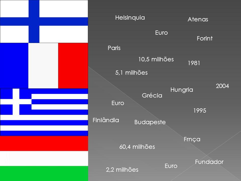 Helsinquia 5,1 milhões 1995 Euro Fundador 60,4 milhões Paris 10,5 milhões Atenas 1981 Euro Grécia Finlândia Frnça Hungria Budapeste 2,2 milhões 2004 Forint