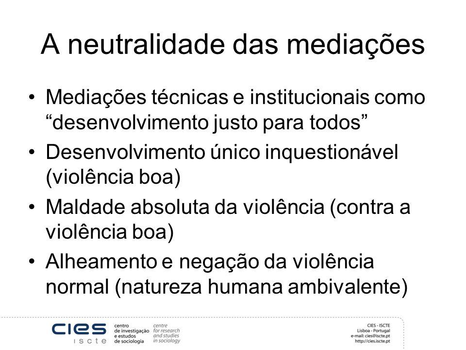 A neutralidade das mediações Mediações técnicas e institucionais como desenvolvimento justo para todos Desenvolvimento único inquestionável (violência boa) Maldade absoluta da violência (contra a violência boa) Alheamento e negação da violência normal (natureza humana ambivalente)