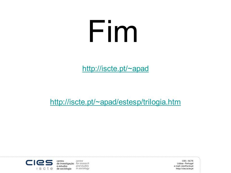 Fim http://iscte.pt/~apad http://iscte.pt/~apad/estesp/trilogia.htm