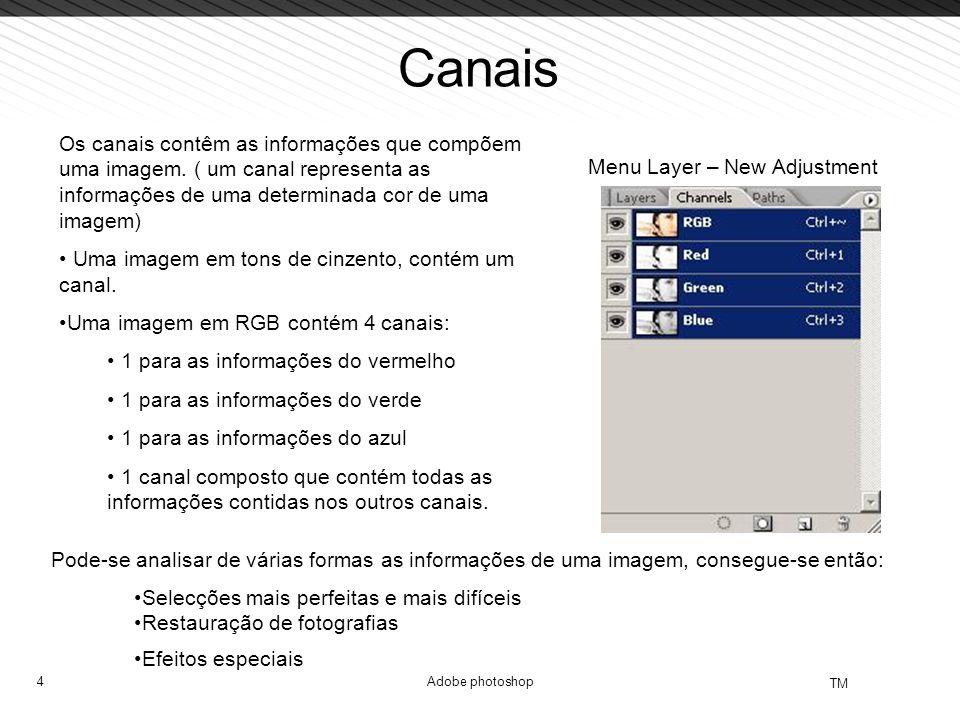 4 TM Adobe photoshop Canais Menu Layer – New Adjustment Os canais contêm as informações que compõem uma imagem. ( um canal representa as informações d