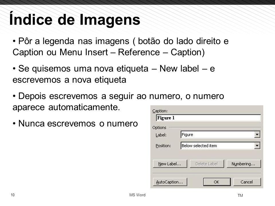 10 TM MS Word Índice de Imagens Pôr a legenda nas imagens ( botão do lado direito e Caption ou Menu Insert – Reference – Caption) Se quisemos uma nova etiqueta – New label – e escrevemos a nova etiqueta Depois escrevemos a seguir ao numero, o numero aparece automaticamente.