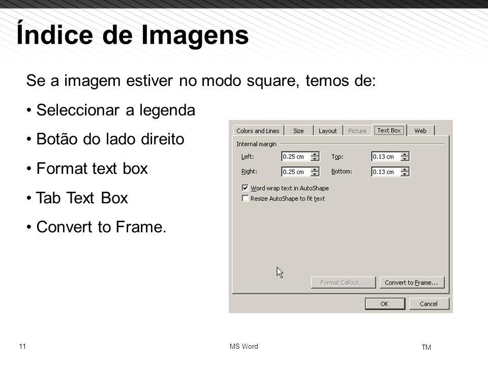 11 TM MS Word Índice de Imagens Se a imagem estiver no modo square, temos de: Seleccionar a legenda Botão do lado direito Format text box Tab Text Box Convert to Frame.