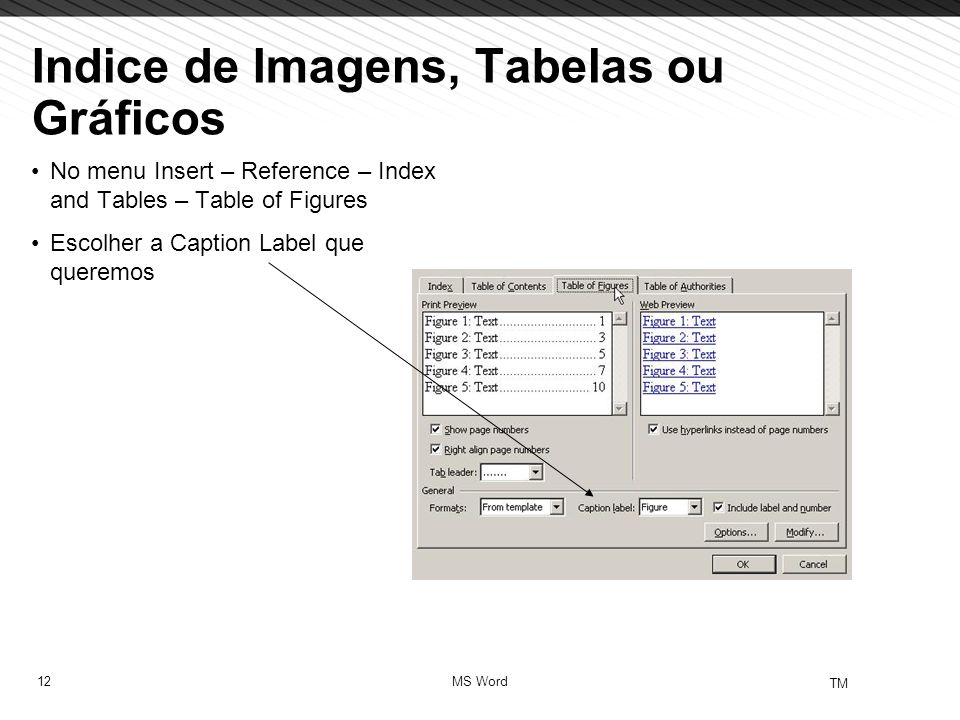 12 TM MS Word Indice de Imagens, Tabelas ou Gráficos No menu Insert – Reference – Index and Tables – Table of Figures Escolher a Caption Label que que