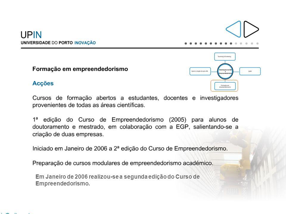 Em Janeiro de 2006 realizou-se a segunda edição do Curso de Empreendedorismo.