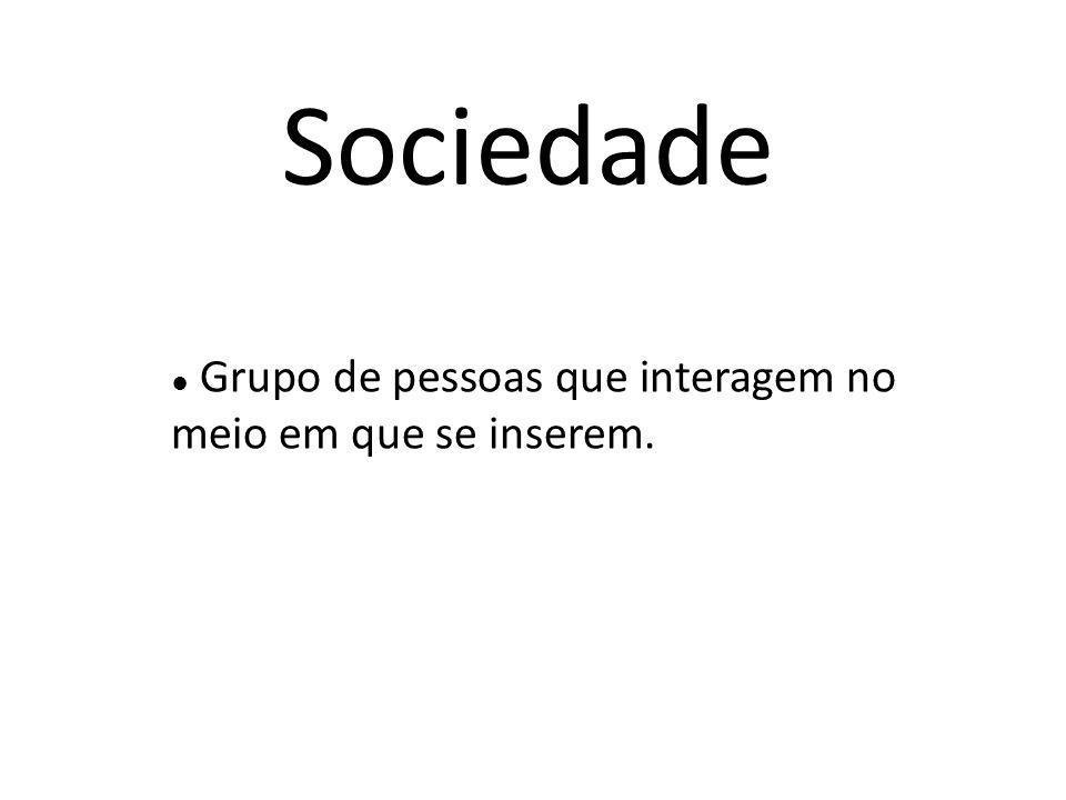 Sociedade ● Grupo de pessoas que interagem no meio em que se inserem.