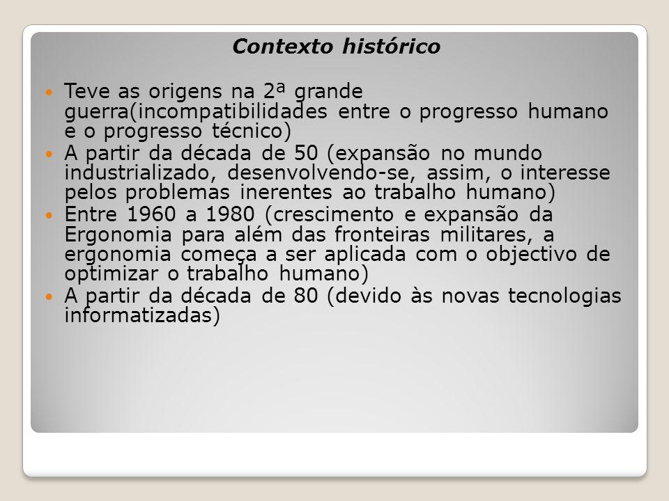 Contexto histórico Teve as origens na 2ª grande guerra(incompatibilidades entre o progresso humano e o progresso técnico) A partir da década de 50 (ex