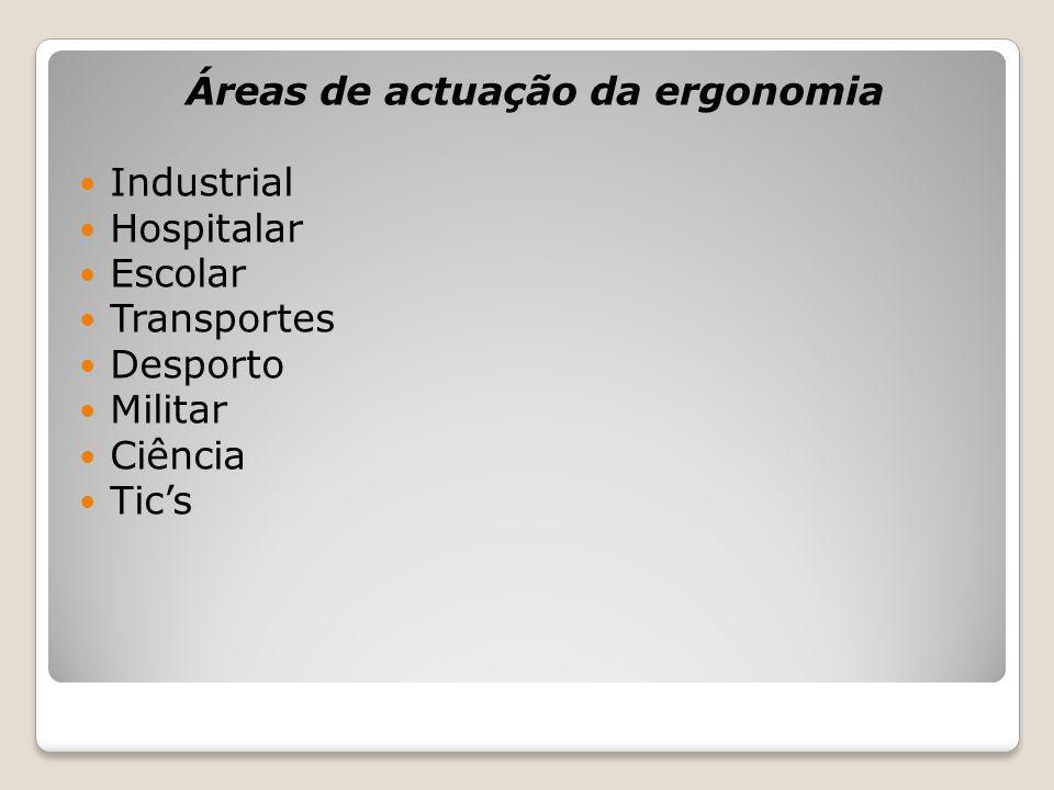 Áreas de actuação da ergonomia Industrial Hospitalar Escolar Transportes Desporto Militar Ciência Tic's
