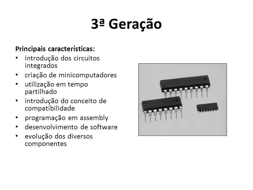 3ª Geração Principais características: introdução dos circuitos integrados criação de minicomputadores utilização em tempo partilhado introdução do conceito de compatibilidade programação em assembly desenvolvimento de software evolução dos diversos componentes