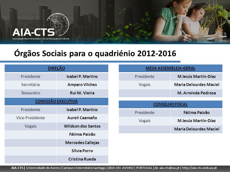 AIA-CTS | Universidade de Aveiro |Campus Universitário Santiago |3810-193 AVEIRO | PORTUGAL |de-aia-cts@ua.pt | http://aia-cts.web.ua.pt Órgãos Sociai