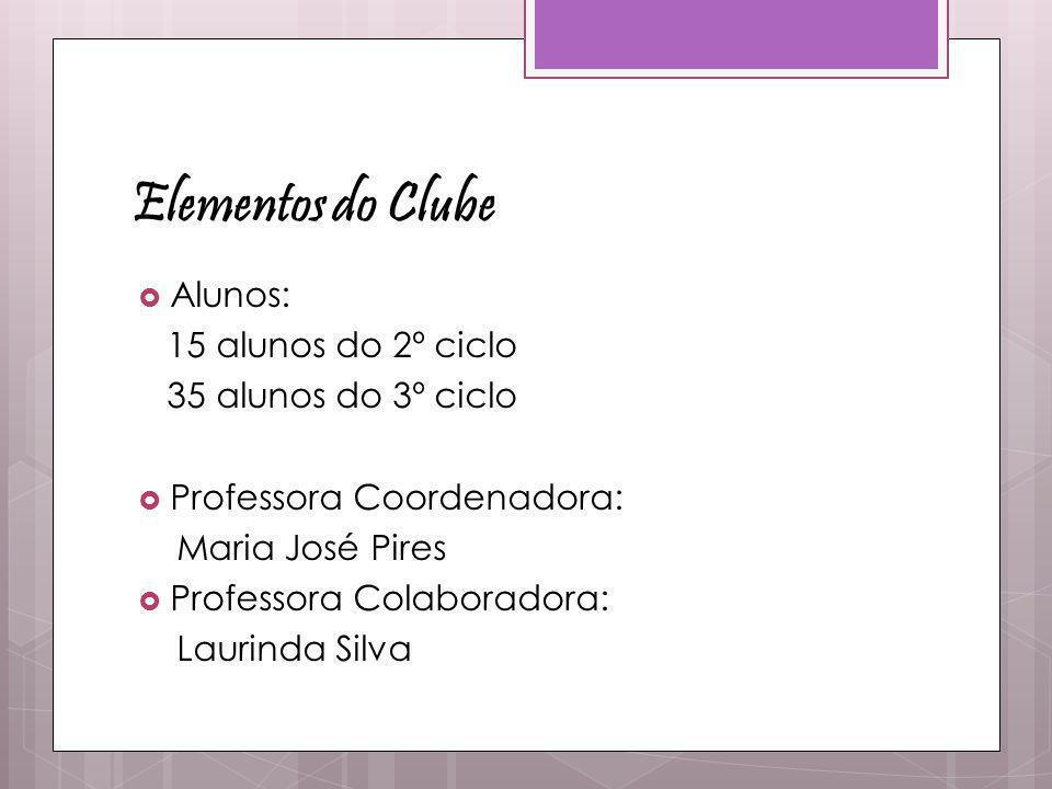 Elementos do Clube  Alunos: 15 alunos do 2º ciclo 35 alunos do 3º ciclo  Professora Coordenadora: Maria José Pires  Professora Colaboradora: Laurin