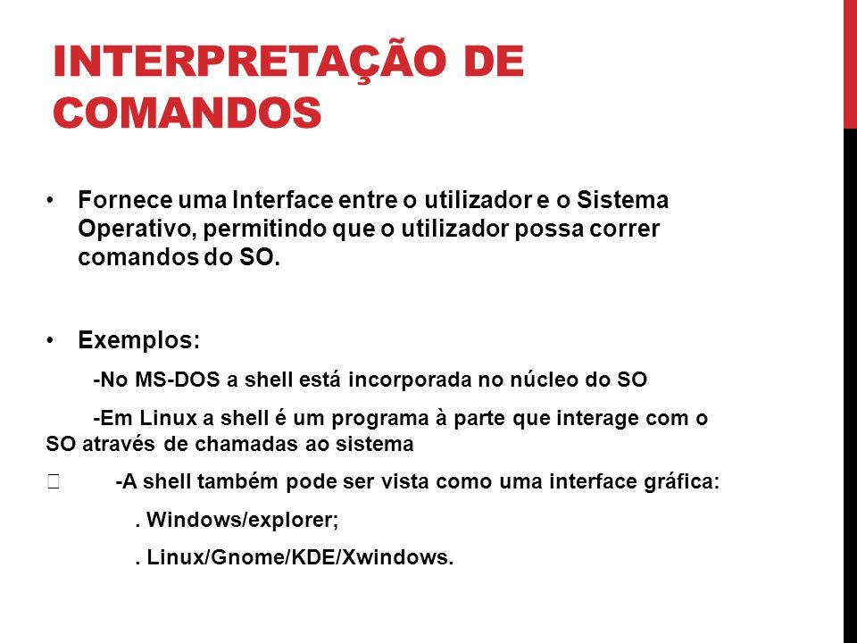 INTERPRETAÇÃO DE COMANDOS Fornece uma Interface entre o utilizador e o Sistema Operativo, permitindo que o utilizador possa correr comandos do SO.