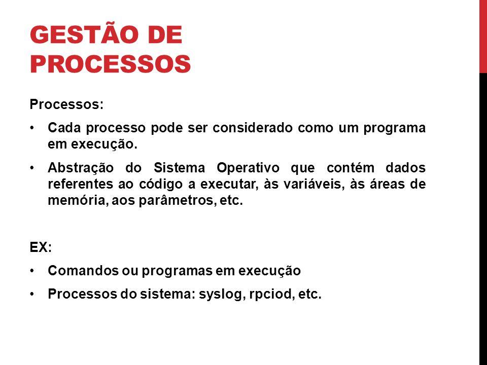 GESTÃO DE PROCESSOS Processos: Cada processo pode ser considerado como um programa em execução.