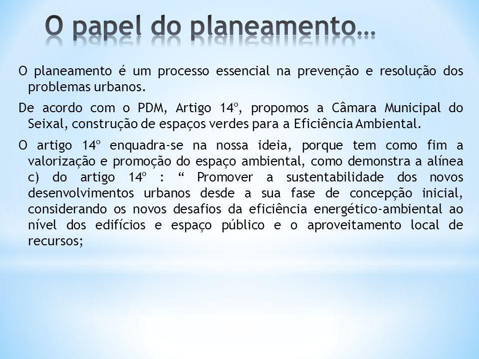 O planeamento é um processo essencial na prevenção e resolução dos problemas urbanos. De acordo com o PDM, Artigo 14º, propomos a Câmara Municipal do