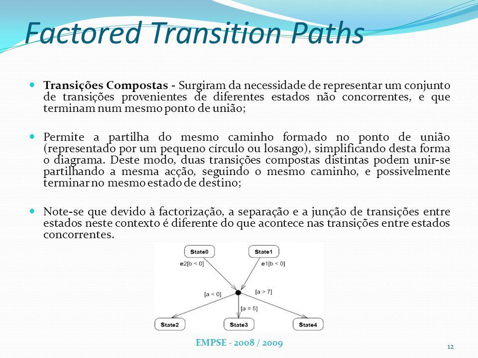 Factored Transition Paths Transições Compostas - Surgiram da necessidade de representar um conjunto de transições provenientes de diferentes estados não concorrentes, e que terminam num mesmo ponto de união; Permite a partilha do mesmo caminho formado no ponto de união (representado por um pequeno círculo ou losango), simplificando desta forma o diagrama.
