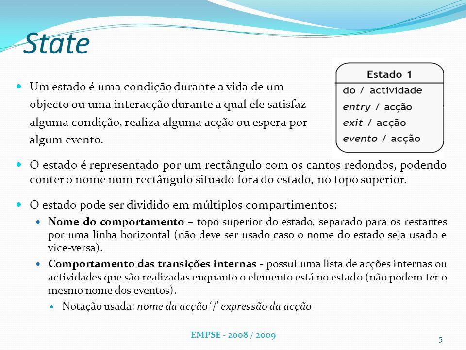State Um estado é uma condição durante a vida de um objecto ou uma interacção durante a qual ele satisfaz alguma condição, realiza alguma acção ou espera por algum evento.