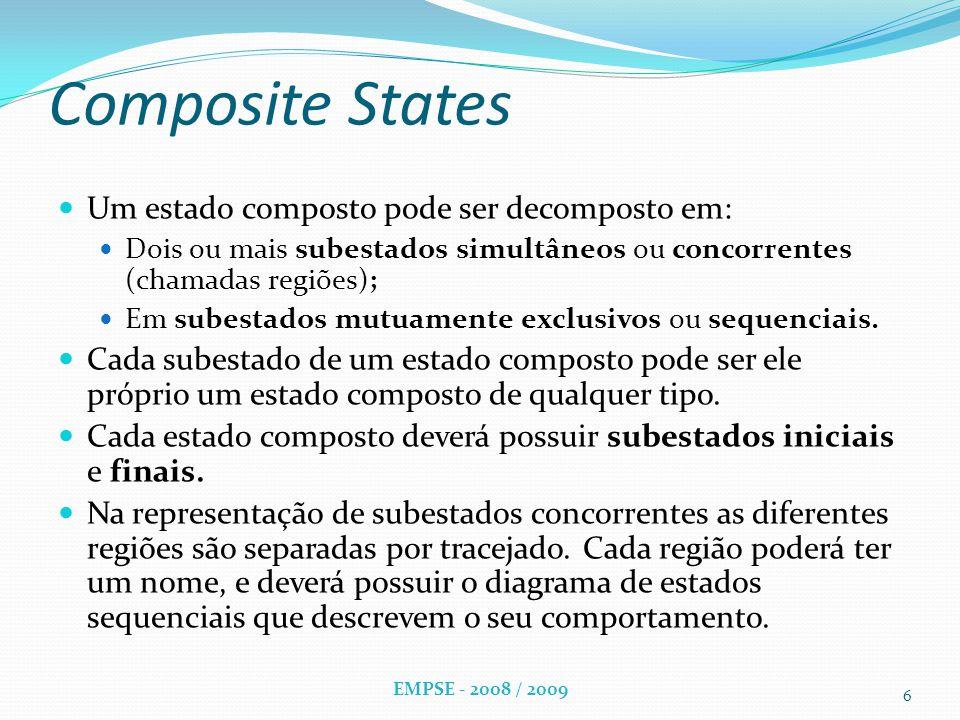 Composite States Um estado composto pode ser decomposto em: Dois ou mais subestados simultâneos ou concorrentes (chamadas regiões); Em subestados mutuamente exclusivos ou sequenciais.