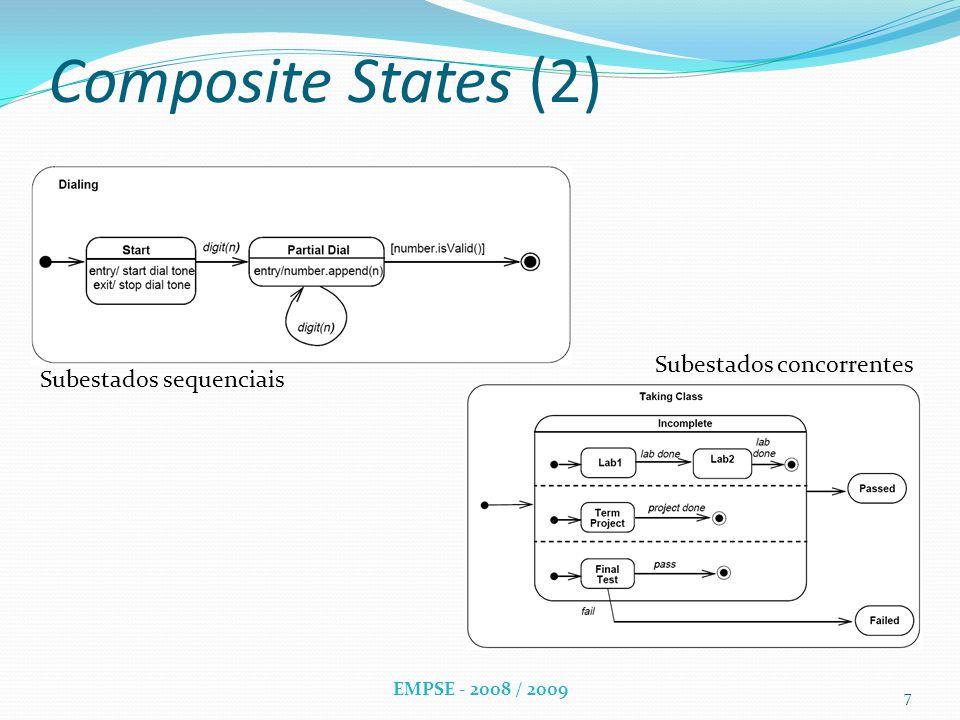 Composite States (2) Subestados sequenciais Subestados concorrentes 7 EMPSE - 2008 / 2009