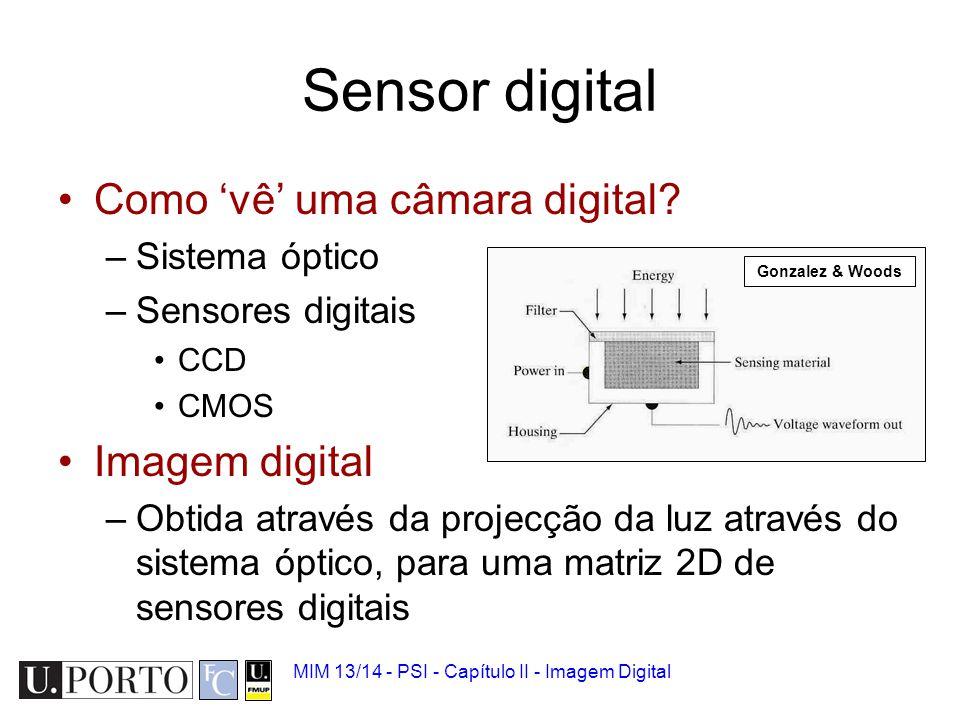 MIM 13/14 - PSI - Capítulo II - Imagem Digital Captura da cor Sensores digitais –Apenas sentem intensidade da luz.