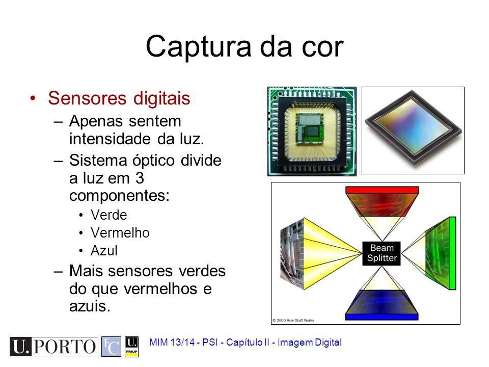MIM 13/14 - PSI - Capítulo II - Imagem Digital Matriz de sensores Os sensores formam uma matriz 2D de pontos.