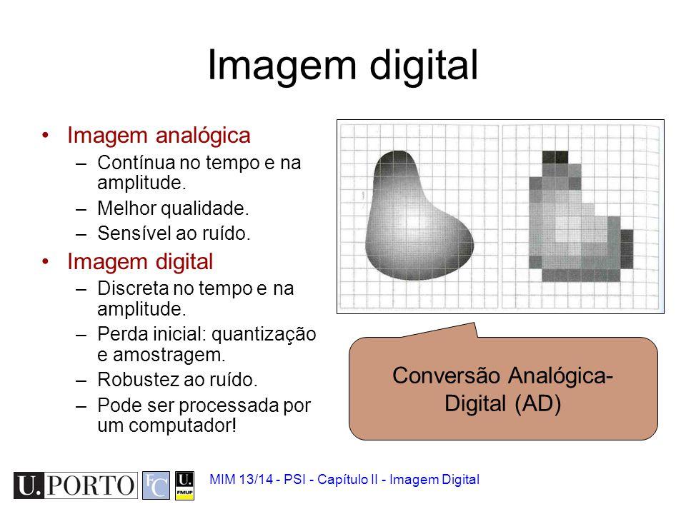 MIM 13/14 - PSI - Capítulo II - Imagem Digital Representação matemática Cada ponto é um pixel com amplitude: –f(x,y) Uma imagem é uma matriz M x N: M = [(0,0) (0,1) … [(1,0) (1,1) … … (0,0)(0,N-1) (M-1,0) Pixel