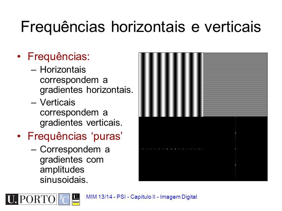 MIM 13/14 - PSI - Capítulo II - Imagem Digital Exemplo: Frequências 'baixas' Se eliminar as frequências altas a imagem fica 'borratada' Porquê?