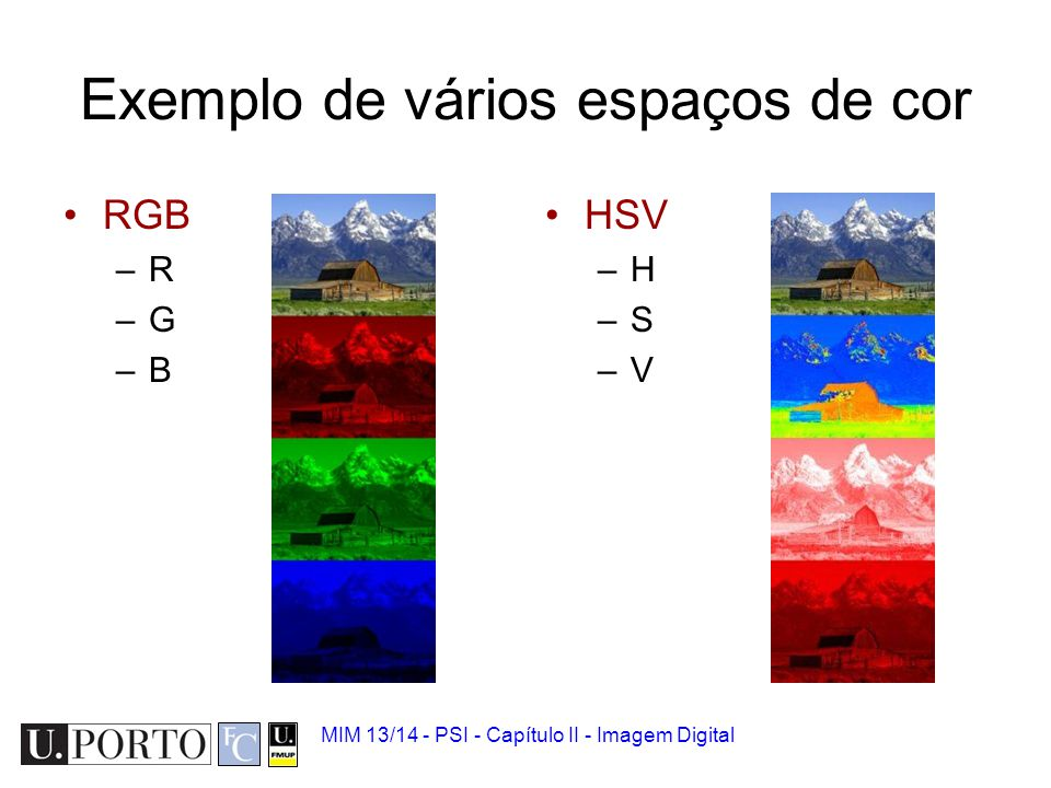 MIM 13/14 - PSI - Capítulo II - Imagem Digital RGB para HSI Hue: Saturation Intensity
