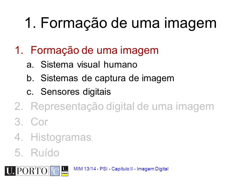 MIM 13/14 - PSI - Capítulo II - Imagem Digital Sistema visual humano Como é que um ser humano 'vê'.