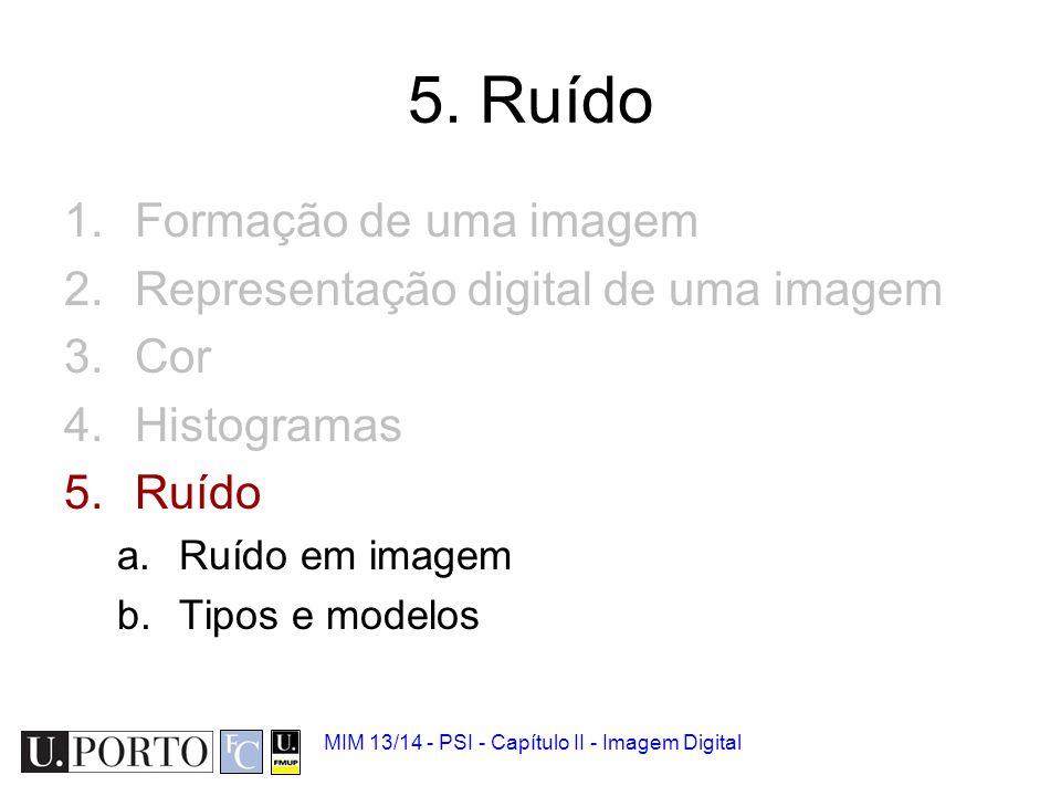 MIM 13/14 - PSI - Capítulo II - Imagem Digital Ruído em imagem As imagens são tipicamente degradadas por ruído.