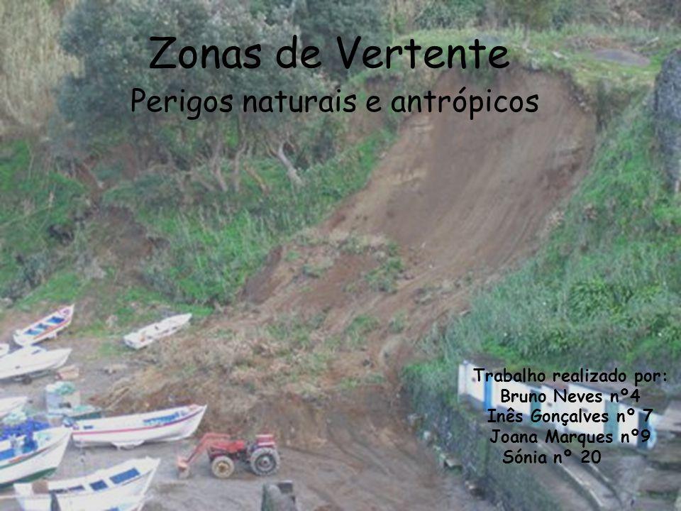 Zonas de Vertente Perigos naturais e antrópicos Trabalho realizado por: Bruno Neves nº4 Inês Gonçalves nº 7 Joana Marques nº9 Sónia nº 20