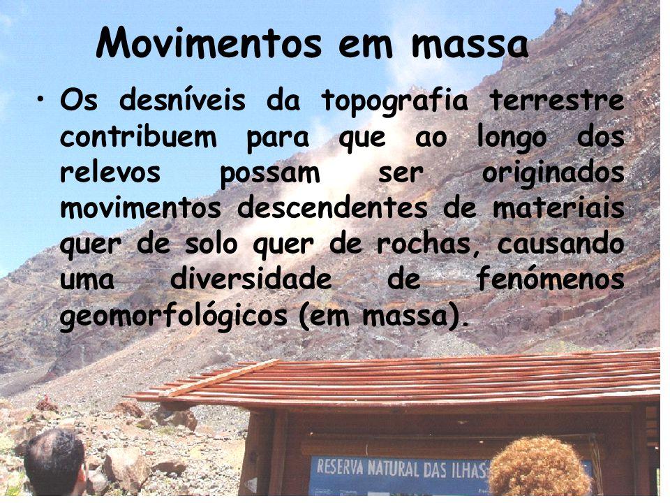 Movimentos em massa Os desníveis da topografia terrestre contribuem para que ao longo dos relevos possam ser originados movimentos descendentes de materiais quer de solo quer de rochas, causando uma diversidade de fenómenos geomorfológicos (em massa).