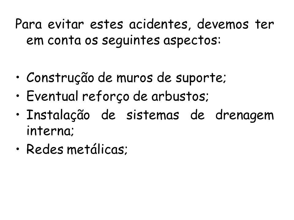 Para evitar estes acidentes, devemos ter em conta os seguintes aspectos: Construção de muros de suporte; Eventual reforço de arbustos; Instalação de sistemas de drenagem interna; Redes metálicas;