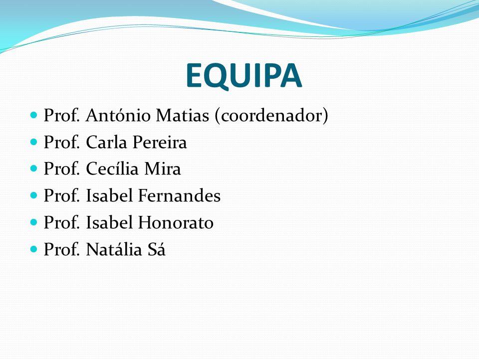 EQUIPA Prof. António Matias (coordenador) Prof. Carla Pereira Prof. Cecília Mira Prof. Isabel Fernandes Prof. Isabel Honorato Prof. Natália Sá