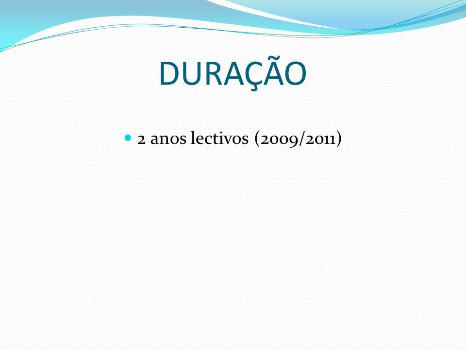 DURAÇÃO 2 anos lectivos (2009/2011)